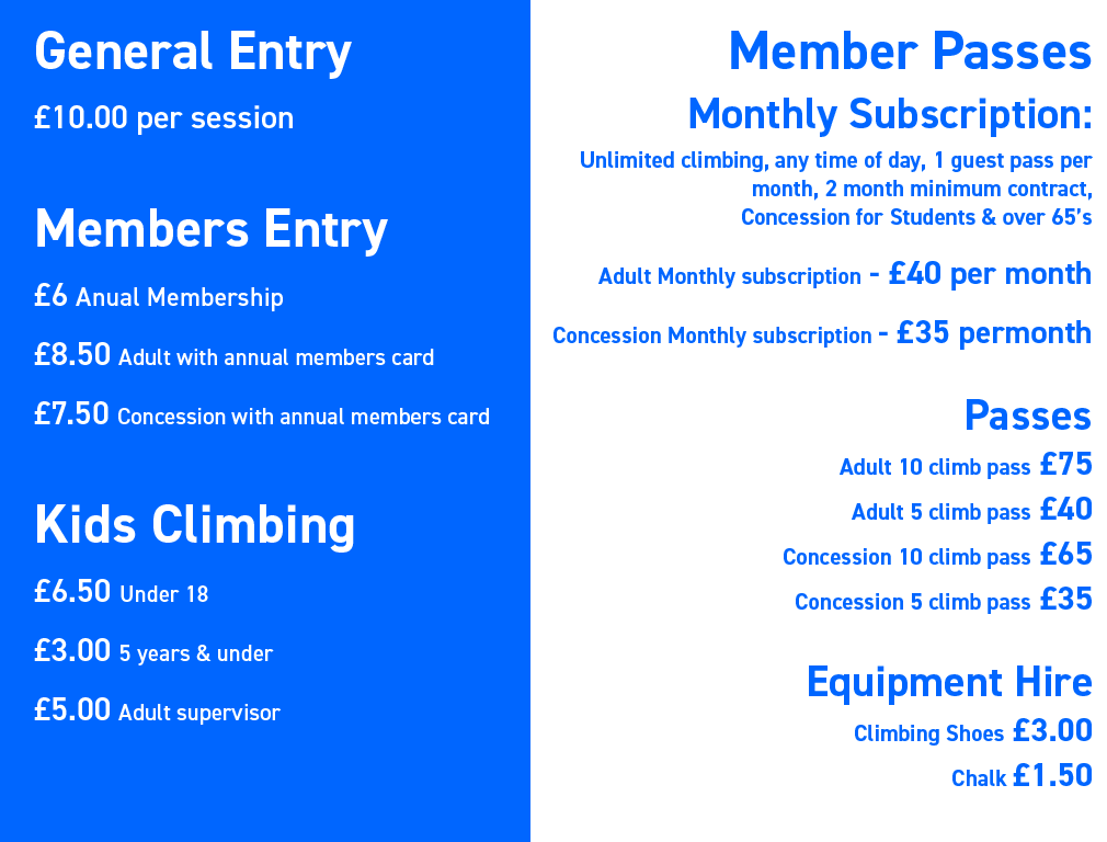 Climbing Lab prices and memberships